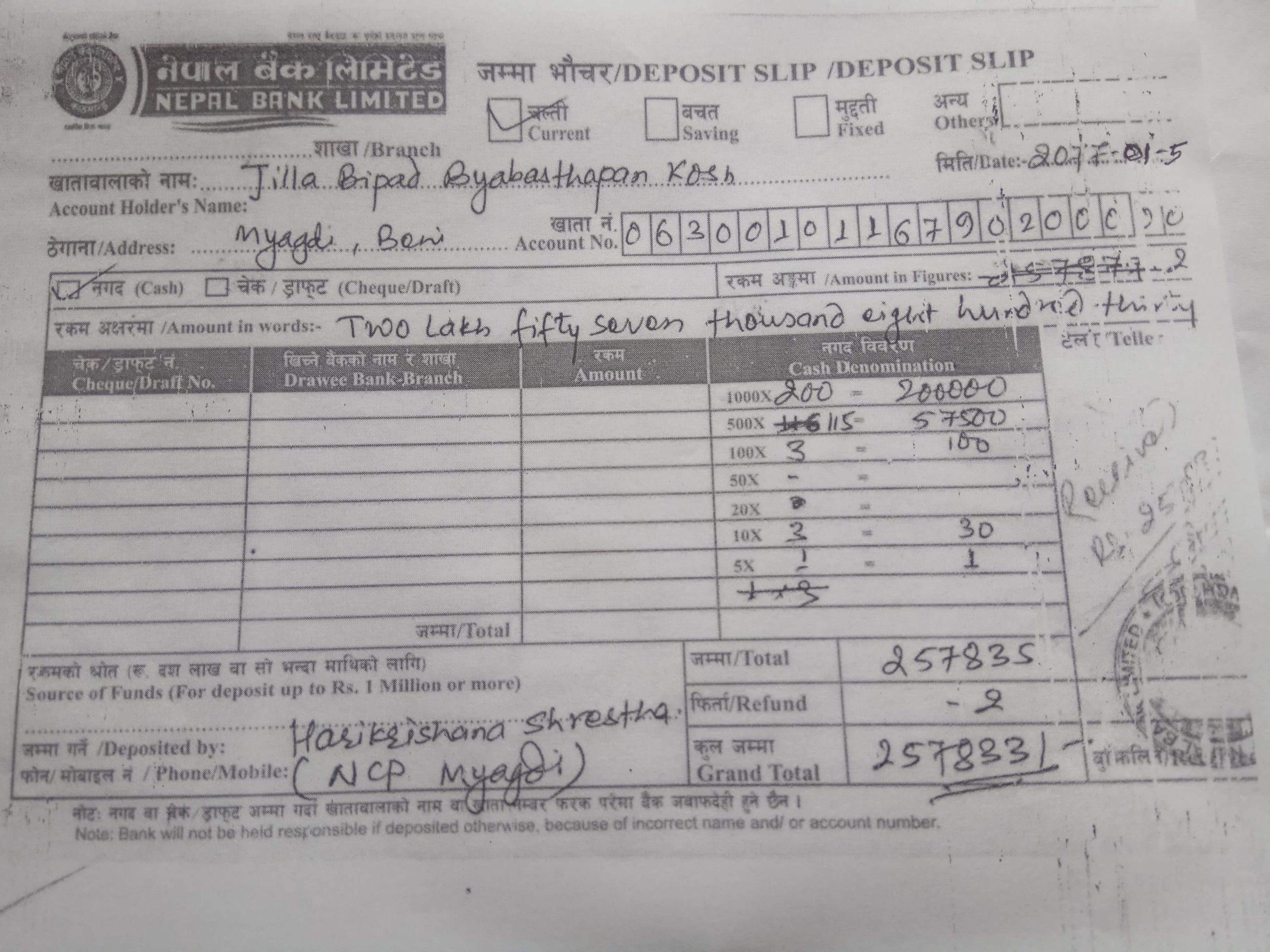 नेकपा म्याग्दीले  बिपद् काेषमा दुईलाख ५७ हजार सहयाेग